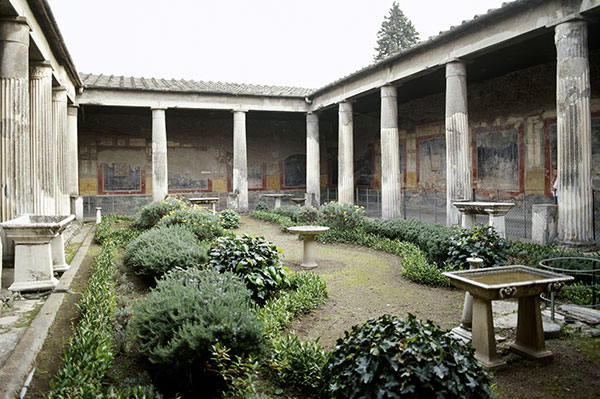 House of Vetti in Pompeii, Italy with the garden reconstructed as it may have appeared in the 1st century AD