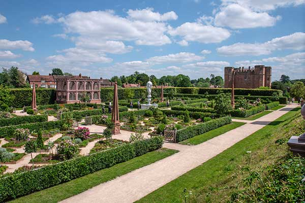 The recreated Elizabethan garden at Kenilworth Castle, Warwickshire
