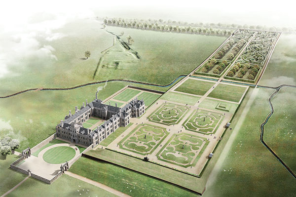 Reconstruction of how the house and garden at Kirby Hall may have looked in about 1700.