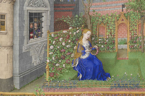 Ms 2617 Emilia in her garden, Plate 22, from 'La Teseida', by Giovanni Boccaccio