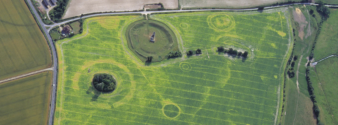 Aerial view of the earthworks at Knowlton