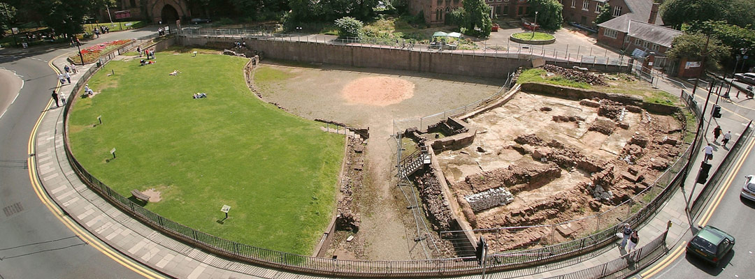 The excavated remains of the Roman amphitheatre at Chester