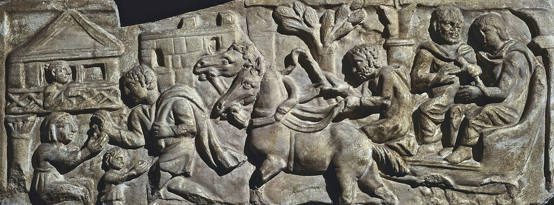 A Roman relief depicting an imperial messenger arriving at a staging post