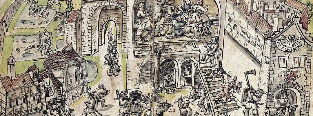 A monastery being plundered, from a 16th-century chronicle