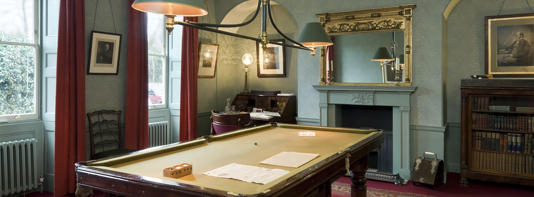 The billiard room at Down House, Kent, the home of Charles Darwin