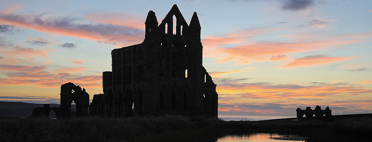 The dramatic ruins of Whitby Abbey, on the headland overlooking the North Yorkshire town