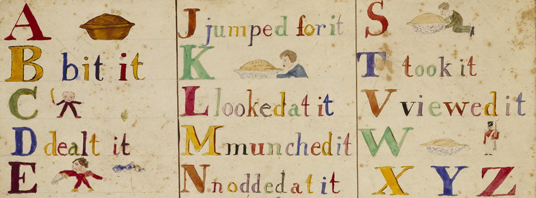An illustrated alphabet by the Darwins' son Horace, from the 1850s