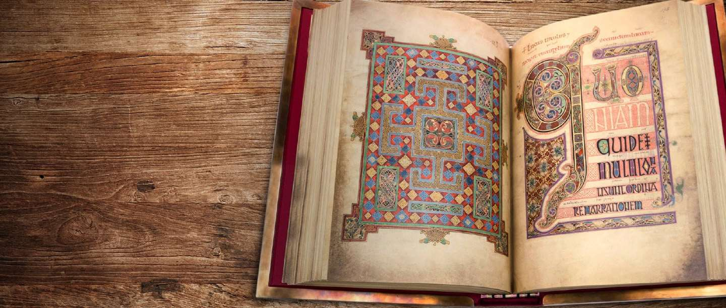 A medieval manuscript with illuminated letters