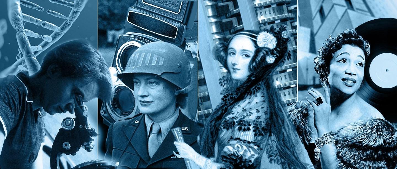 Left to right: Rosalind Franklin, molecular biology pioneer; Lee Miller, wartime photographer; Ada Lovelace, first computer programmer; Elisabeth Welch, popular singer.