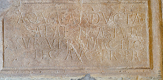An inscription recording an aqueduct ('aqua adducta') erected at Chesters by the auxiliary cavalry unit, the ala II Astrum, when Ulpius Marcellus was governor of Britain (AD 178–84)
