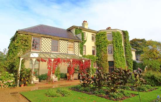 Down House showing Autumn colour, with Virginia Creeper turning a vivid red.