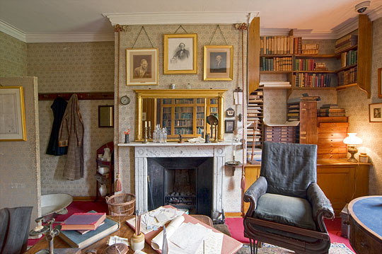 Darwin's Old Study, with portraits of Joseph Hooker, Charles Lyell and Josiah Wedgwood about the fireplace