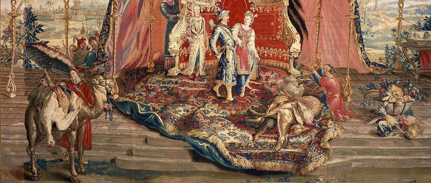 Detail from one of the Emperor of China tapestries in the Wernher Collection