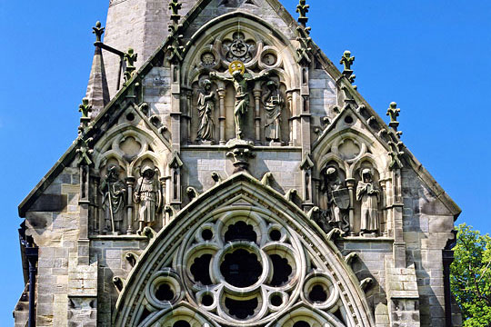 Detail of the east façade, St Marys Church, Studley Royal, with sculpted figures in niches