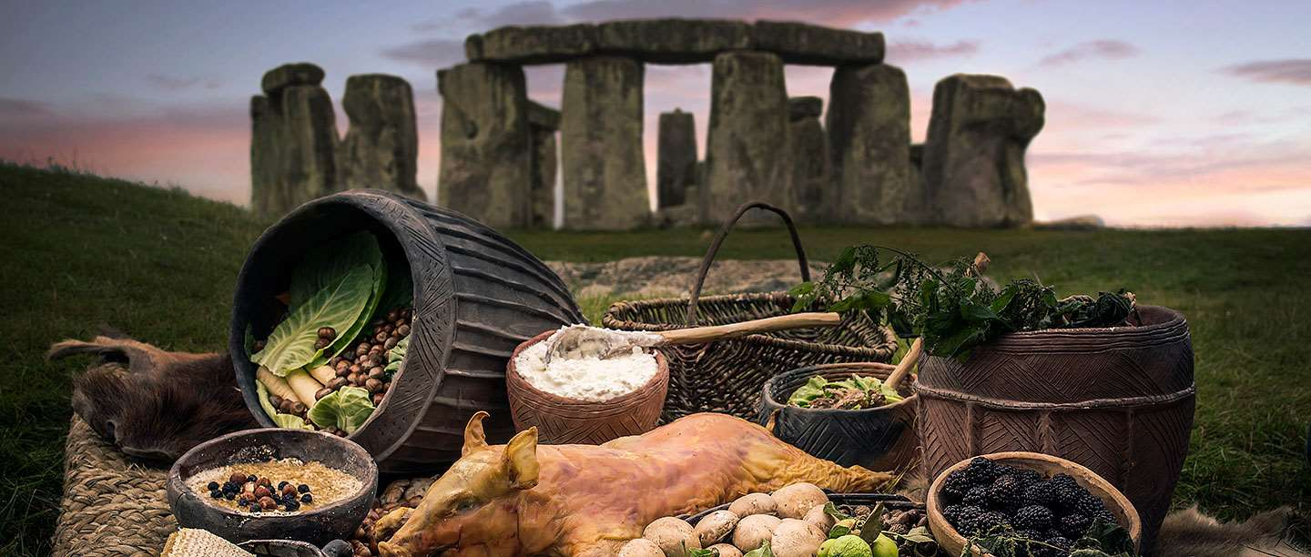 A collection of the type of food that would have been eaten at Stonehenge